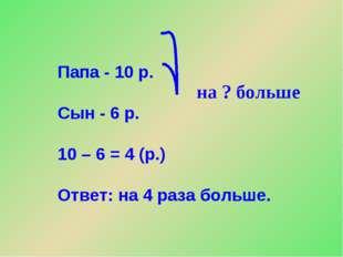 Папа - 10 р. Сын - 6 р. 10 – 6 = 4 (р.) Ответ: на 4 раза больше. на ? больше