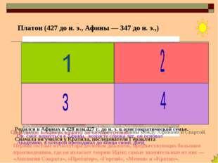 Родился в Афинах в 428 или 427 г. до н. э. в аристократической семье. Сначала