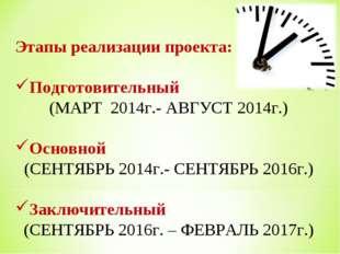 Этапы реализации проекта: Подготовительный (МАРТ 2014г.- АВГУСТ 2014г.) Основ