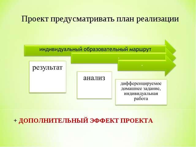 Проект предусматривать план реализации + ДОПОЛНИТЕЛЬНЫЙ ЭФФЕКТ ПРОЕКТА