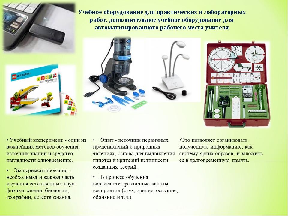 Учебное оборудование для практических и лабораторных работ, дополнительное уч...