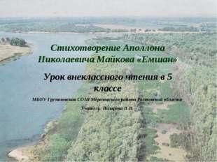 Стихотворение Аполлона Николаевича Майкова «Емшан» Урок внеклассного чтения в