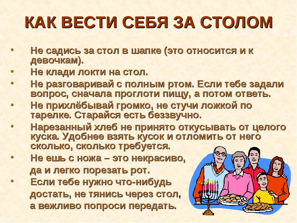 КАК ВЕСТИ СЕБЯ ЗА СТОЛОМ Не садись за стол в шапке (это относится и к девочка...