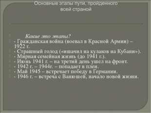 Какие это этапы? - Гражданская война (воевал в Красной Армии) – 1922 г. - С