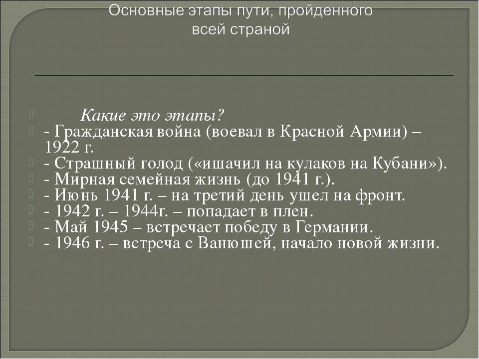 Какие это этапы? - Гражданская война (воевал в Красной Армии) – 1922 г. - С...