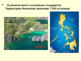 В регионе много островных государств. Территория Филиппин включает 7100 остр