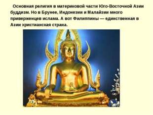 Основная религия в материковой части Юго-Восточной Азии буддизм. Но в Брунее