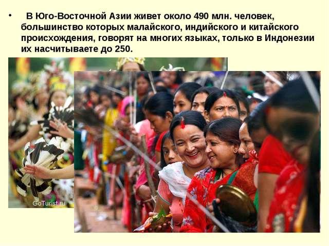 В Юго-Восточной Азии живет около 490 млн. человек, большинство которых малай...