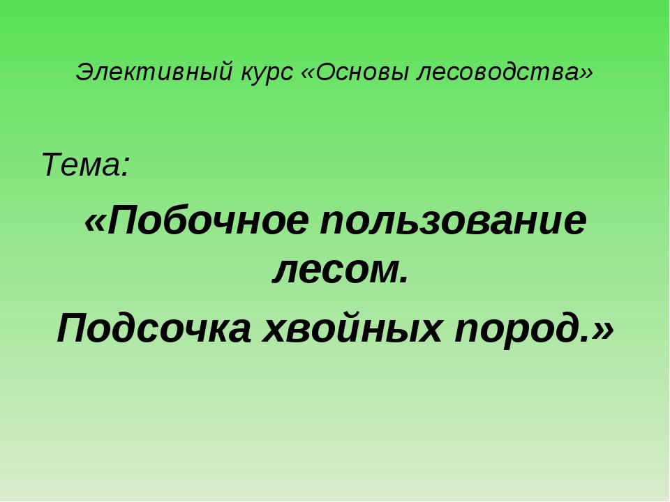 Элективный курс «Основы лесоводства» Тема: «Побочное пользование лесом. Подсо...