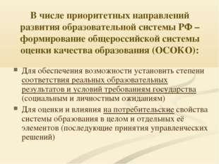 В числе приоритетных направлений развития образовательной системы РФ – формир