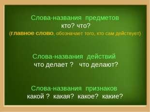 Слова-названия предметов кто? что? (главное слово, обозначает того, кто сам д