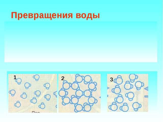 Превращения воды Вода в природе находится в трёх состояниях: Твёрдое Жидкое...