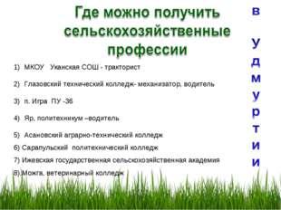 МКОУ Уканская СОШ - тракторист Глазовский технический колледж- механизатор, в