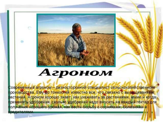 Современный агроном – разносторонний специалист сельскохозяйственного произво...