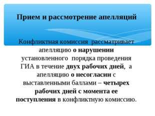 Прием и рассмотрение апелляций Конфликтная комиссия рассматривает апелляцию о