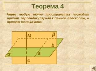 Теорема 4 Через любую точку пространства проходит прямая, перпендикулярная к
