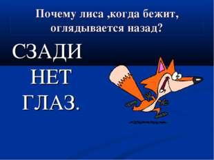 Почему лиса ,когда бежит, оглядывается назад? СЗАДИ НЕТ ГЛАЗ.