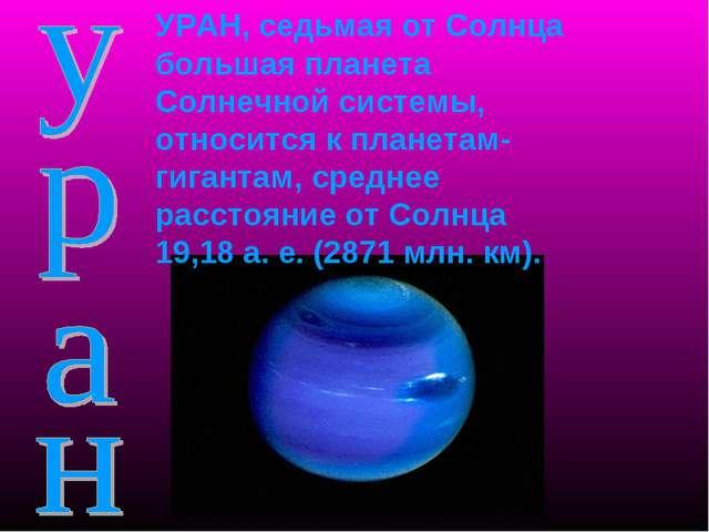 УРАН, седьмая от Солнца большая планета Солнечной системы, относится к планет...