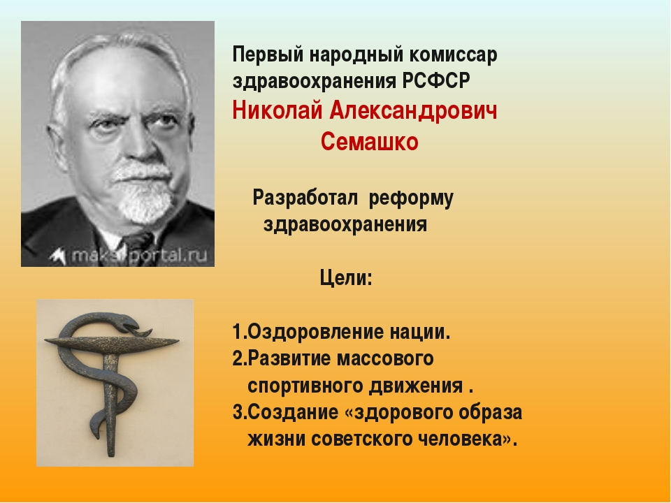Первый народный комиссар здравоохранения РСФСР Николай Александрович Семашко...