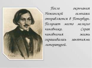 После окончания Нежинской гимназии отправляется в Петербург. Получает место