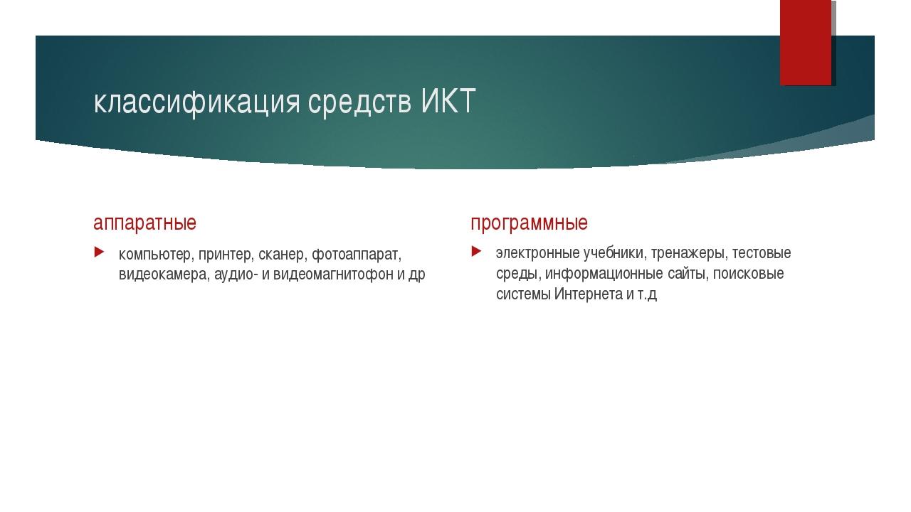 классификация средств ИКТ аппаратные компьютер, принтер, сканер, фотоаппарат,...