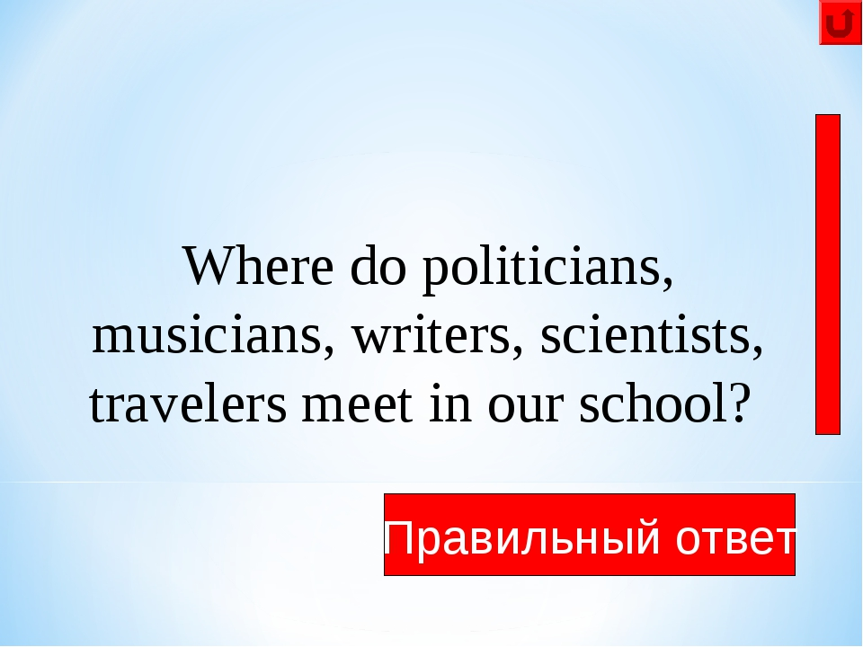They meet in the library Правильный ответ Where do politicians, musicians, wr...