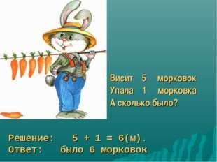 Висит 5 морковок Упала 1 морковка А сколько было? Решение: 5 + 1 = 6(м). Отве