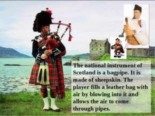 The national instrument of Scotland is a bagpipe. It is made of sheepskin. Th
