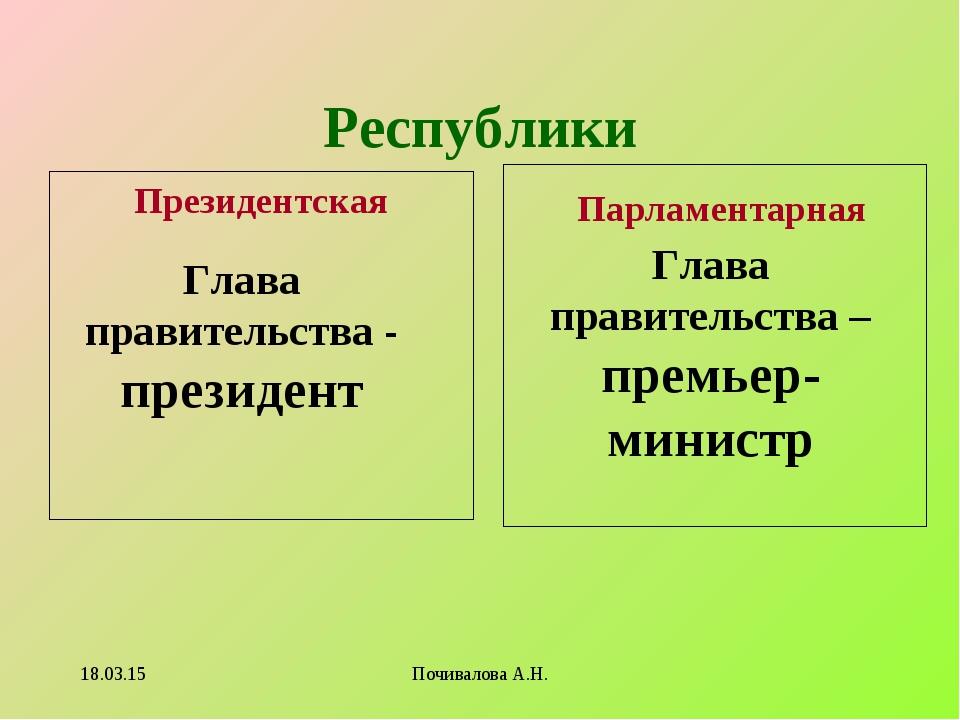 Республики Президентская Парламентарная Глава правительства - президент Глава...