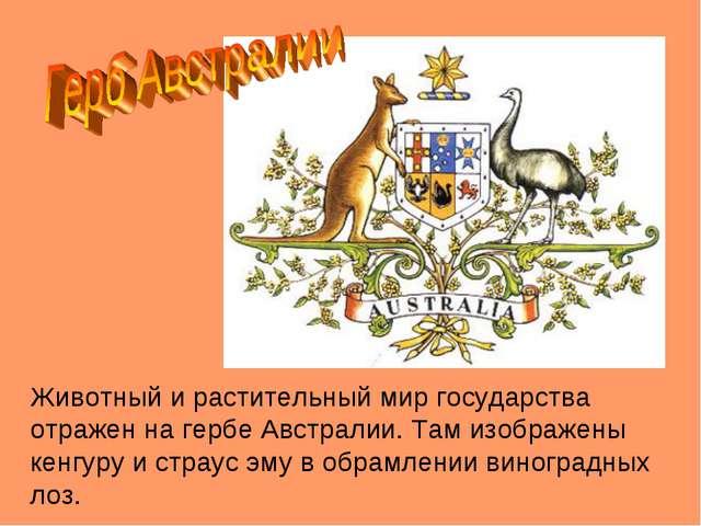 Животный и растительный мир государства отражен на гербе Австралии. Там изобр...