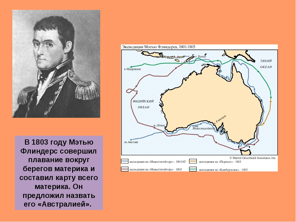 В 1803 году Мэтью Флиндерс совершил плавание вокруг берегов материка и состав...