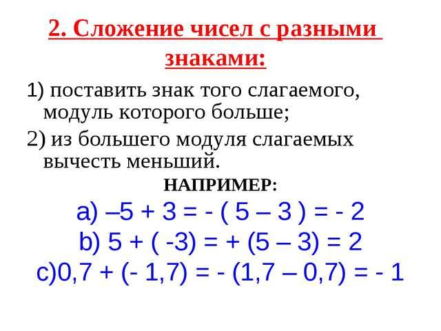 2. Сложение чисел с разными знаками: 1) поставить знак того слагаемого, модул...
