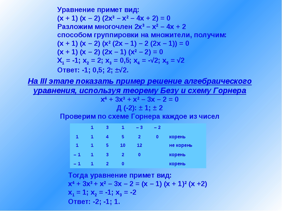 Уравнение примет вид: (x + 1) (x – 2) (2x3 – x2 – 4x + 2) = 0 Разложим многоч...