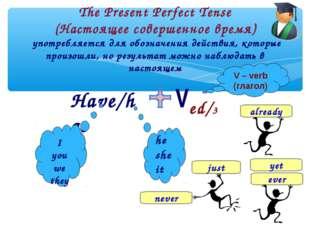 The Present Perfect Tense (Настоящее совершенное время) употребляется для обо