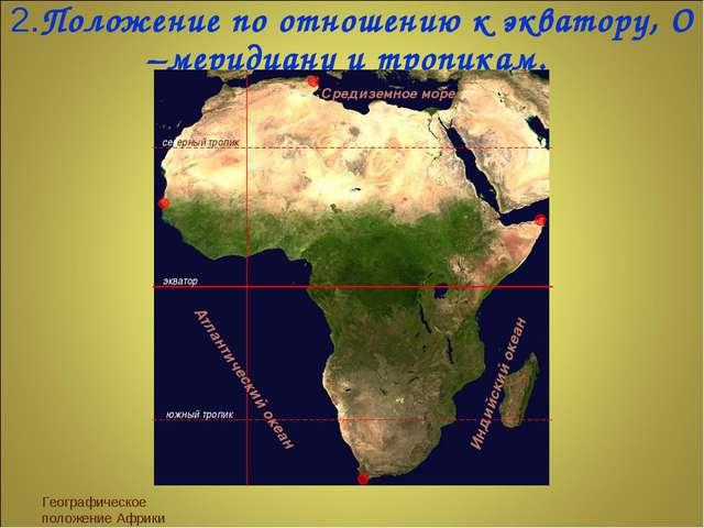 2.Положение по отношению к экватору, О –меридиану и тропикам. Географическое...