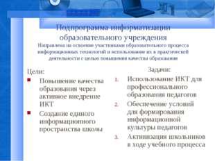 Подпрограмма информатизации образовательного учреждения Направлена на освоени