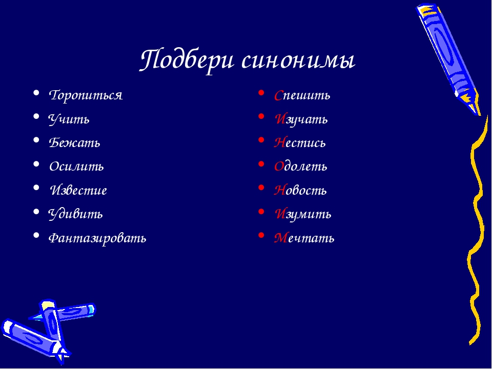 Подбери синонимы Торопиться Учить Бежать Осилить Известие Удивить Фантазирова...