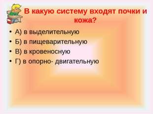 В какую систему входят почки и кожа? А) в выделительную Б) в пищеварительную