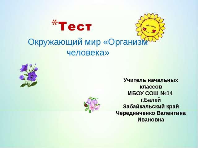 Учитель начальных классов МБОУ СОШ №14 г.Балей Забайкальский край Чередниченк...