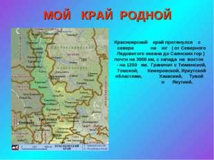 МОЙ КРАЙ РОДНОЙ Красноярский край протянулся с севера на юг ( от Северного Ле