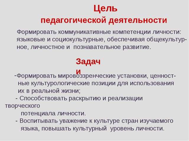 Цель педагогической деятельности Формировать коммуникативные компетенции лич...