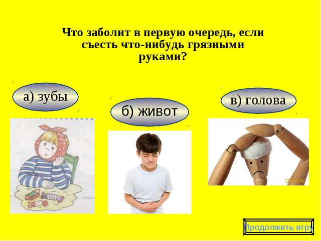 в) голова а) зубы Что заболит в первую очередь, если съесть что-нибудь грязны...