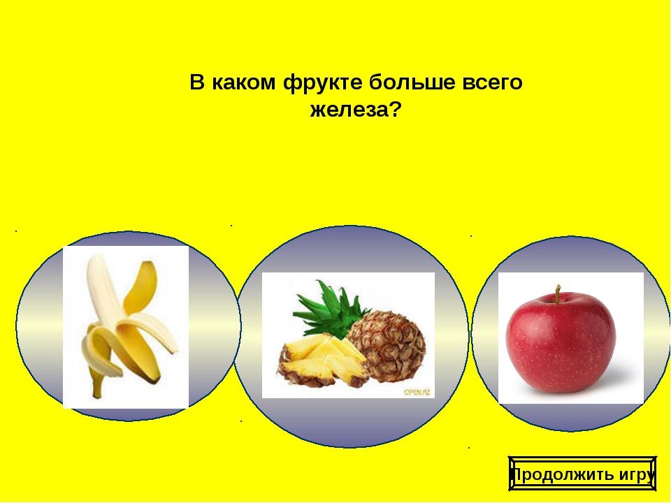 В каком фрукте больше всего железа? Продолжить игру