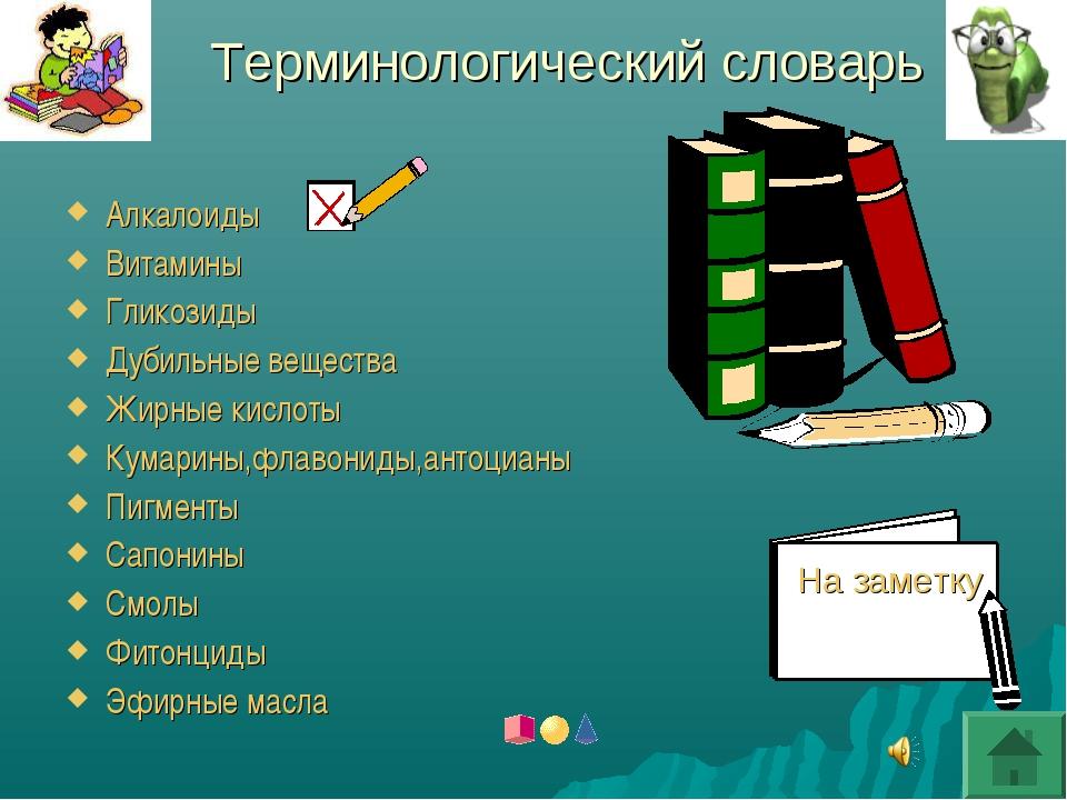 Терминологический словарь Алкалоиды Витамины Гликозиды Дубильные вещества Жир...