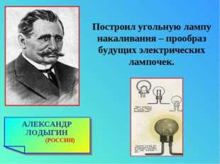 АЛЕКСАНДР ЛОДЫГИН (РОССИЯ) Построил угольную лампу накаливания – прообраз буд