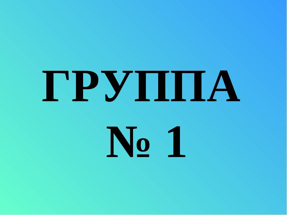 ГРУППА № 1
