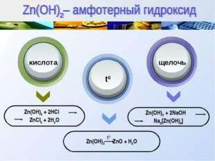 Zn(OH)2 + 2HCl ZnCl2 + 2H2O Zn(OH)2 ZnO + H2O Zn(OH)2 + 2NaOH Na2[Zn(OH)4] ки