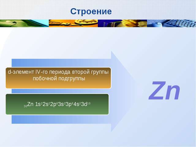 30Zn 1s22s22p63s23p64s23d10 d-элемент IV-го периода второй группы побочной по...