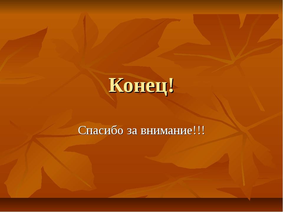 Конец! Спасибо за внимание!!!