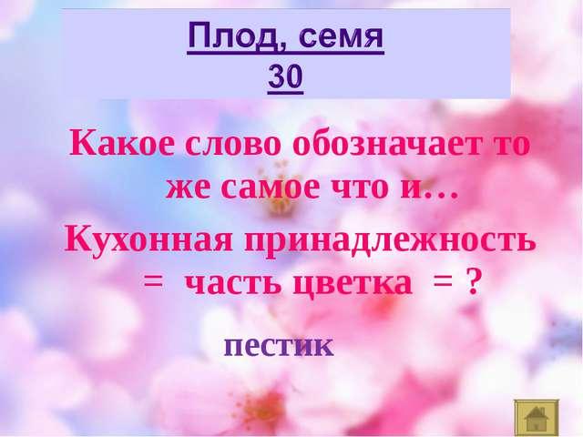 Какое слово обозначает то же самое что и… Кухонная принадлежность = часть цве...
